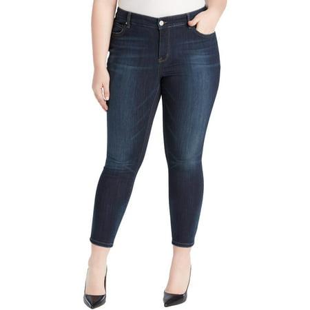 William Rast Womens Plus Denim Skinny Ankle Jeans Blue 24W