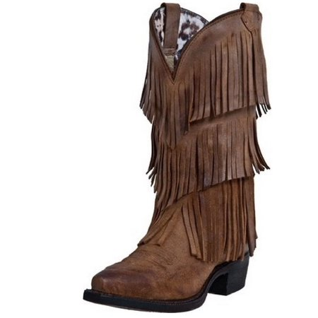 Dingo Western Boots Womens Tres Fringe Suede Burnished Tan DI7442