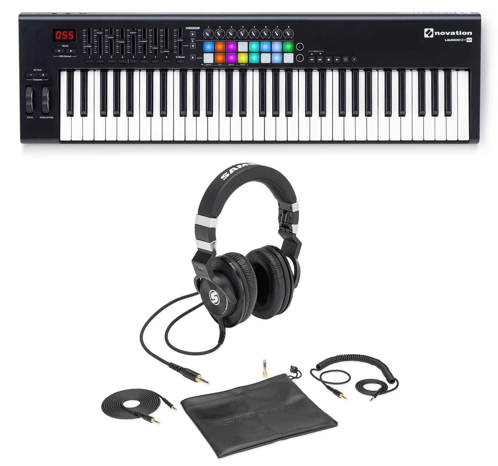 Novation LAUNCHKEY 61 61-Key Midi Keyboard Controller+Samson Lambskin Headphones