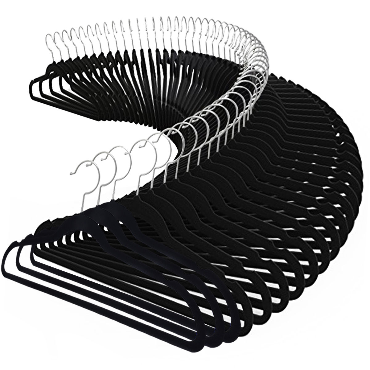 Costway 100PCS Velvet Clothes Suit/ Shirt/ Pants Hangers Hook Non Slip Storage Organize