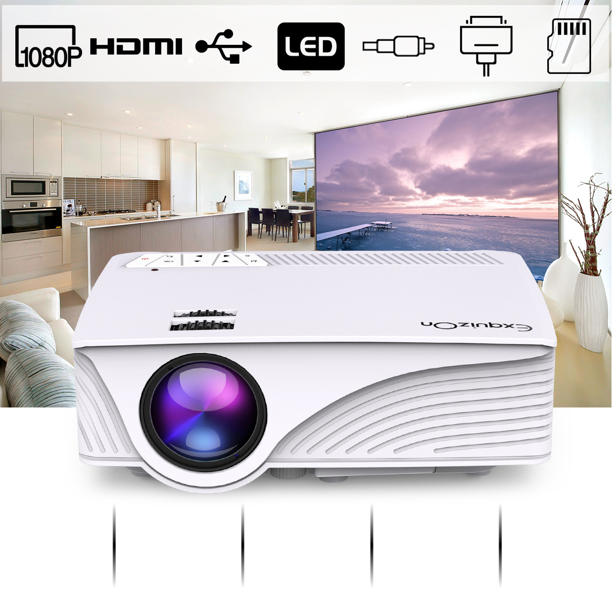 Exquizon GP12 Portable LED Projector, 800*480P Support 1080P HDMI USB SD AV Connect, White