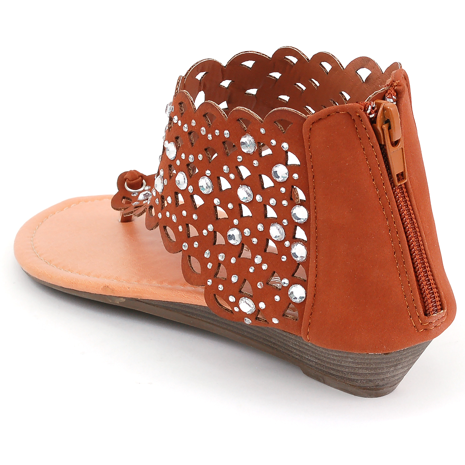 38555a10e Luo Luo - Womens Gladiator Sandals Wedge Heel Thongs Dressy Ankle Wrap  Shoes W Rhinestone - Walmart.com