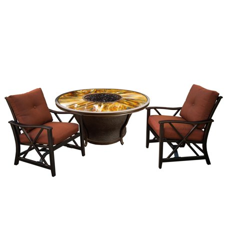 """Image of """"Oakland Living Corporation Round 48x24"""""""" Gas Firepit Table Set with Tempered Glass Top, Beads, Burner System, Cover and Two Red Cushioned Rocking"""""""