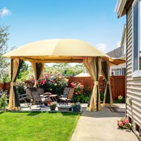 Quictent 12x12 Metal Gazebo with Mosquito Netting Sides Screened Gazebo Canopy Pergola for Deck, Patio and Backyard Waterproof-Tan (Tan)