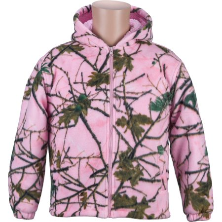 Trail Crest Kids Pink Camo Sherpa lined Zip Up (Chestnut Hill Trail Jacket)