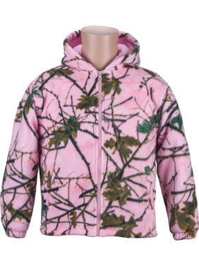Trail Crest Kids Pink Camo Sherpa lined Zip Up Jacket