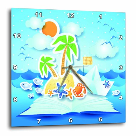 3dRose Beach tropical book pop up art with sun, star fish, seagulls, Wall Clock, 10 by 10-inch