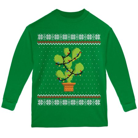 Cactus Prickly Pear Tree Ugly Christmas Sweater Youth Long Sleeve T Shirt](Ugly Christmas Sweater Tree)