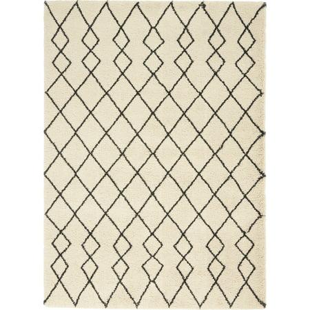 Nourison Geometric Shag Tribal Ivory/Charcoal Area Rug ()