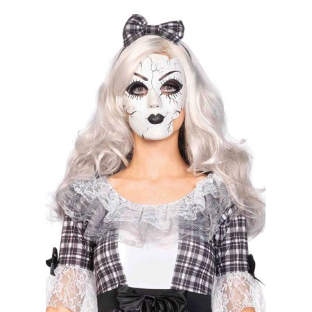 Leg Avenue Women's Doll Mask Costume Accessory, White, One Size](Black And White Masks For A Masquerade)