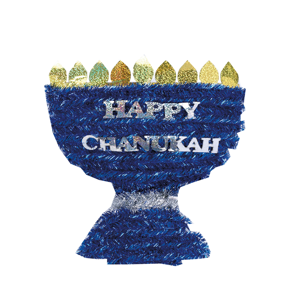 "Rite Lite ""Happy Chanukah"" Tinsel Menorah Holiday Decoration 10 X 10 inches"