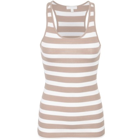 Cotton Ribbed Tank (KOGMO Womens Cotton Stripe Ribbed Racerback Tank Top)