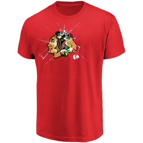 Men's Majestic Red Chicago Blackhawks Poke Check T-Shirt