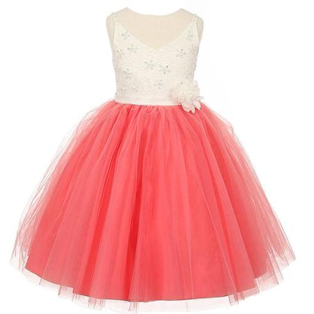 Kids Special Occasion (Rain Kids Girls Coral Ivory Beaded Lace V-neck Special Occasion Dress)