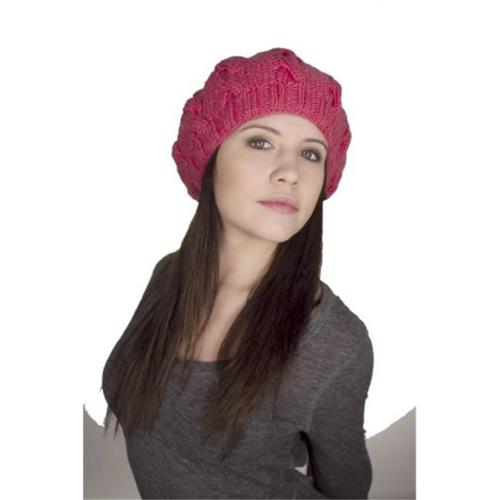 Nirvanna Designs CH208 Cable Beret with Fleece Band Lining - Honeysuckle