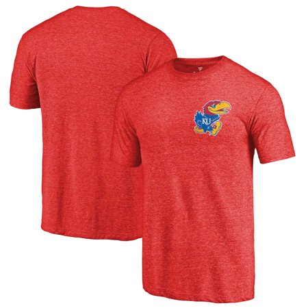 Kansas Jayhawks Fanatics Branded Primary Logo Left Chest Distressed Tri-Blend T-Shirt - Red