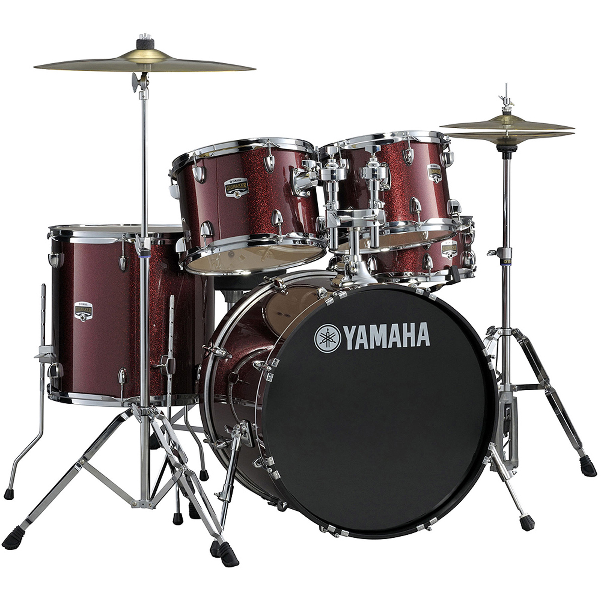 Yamaha GM2F56BGG Gigmaker Standard 5-Piece Drum Set with Hardware, Burgundy Glitter
