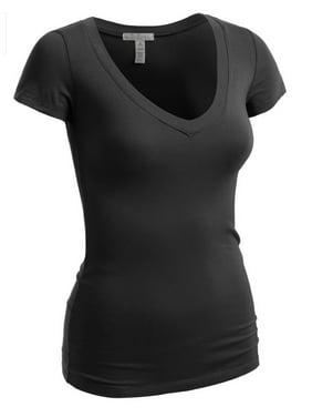 Emmalise Women's Plain Short Sleeve T-Shirt V-Neck Top Junior & Plus Sizes