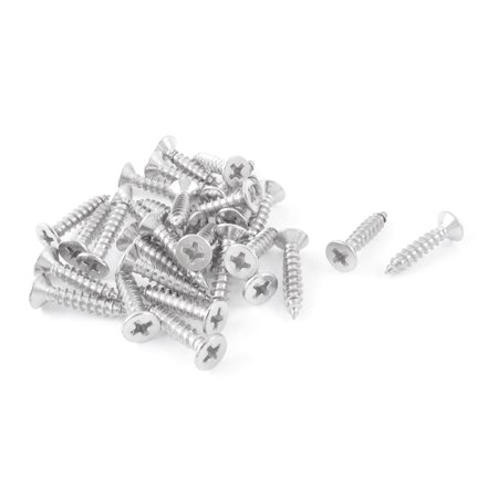 Unique Bargains Silver Tone Self Tapping Flat Head Sheet Metal Screws 4mmx17mm (Flat Tapping Screw)