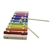 ammoon 8-Note Colorful Xylophone Glockenspiel with Wooden Mallets Percussion Musical Instrument Toy Gift for Kids Children