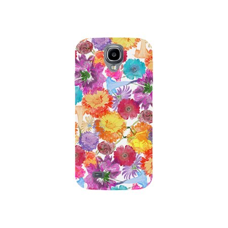 Flowers Watercolor Pain Design Multicolor Print On White Phone Case - For Samsung Galaxy S4 Back (Samsung Galaxy S4 Water Damage Indicator Color)