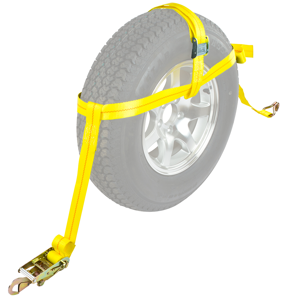 "Auto Hauler Wheel Bonnet Cam Adjustable Tie-Down Strap for 16""D or Larger Tires (Single)"