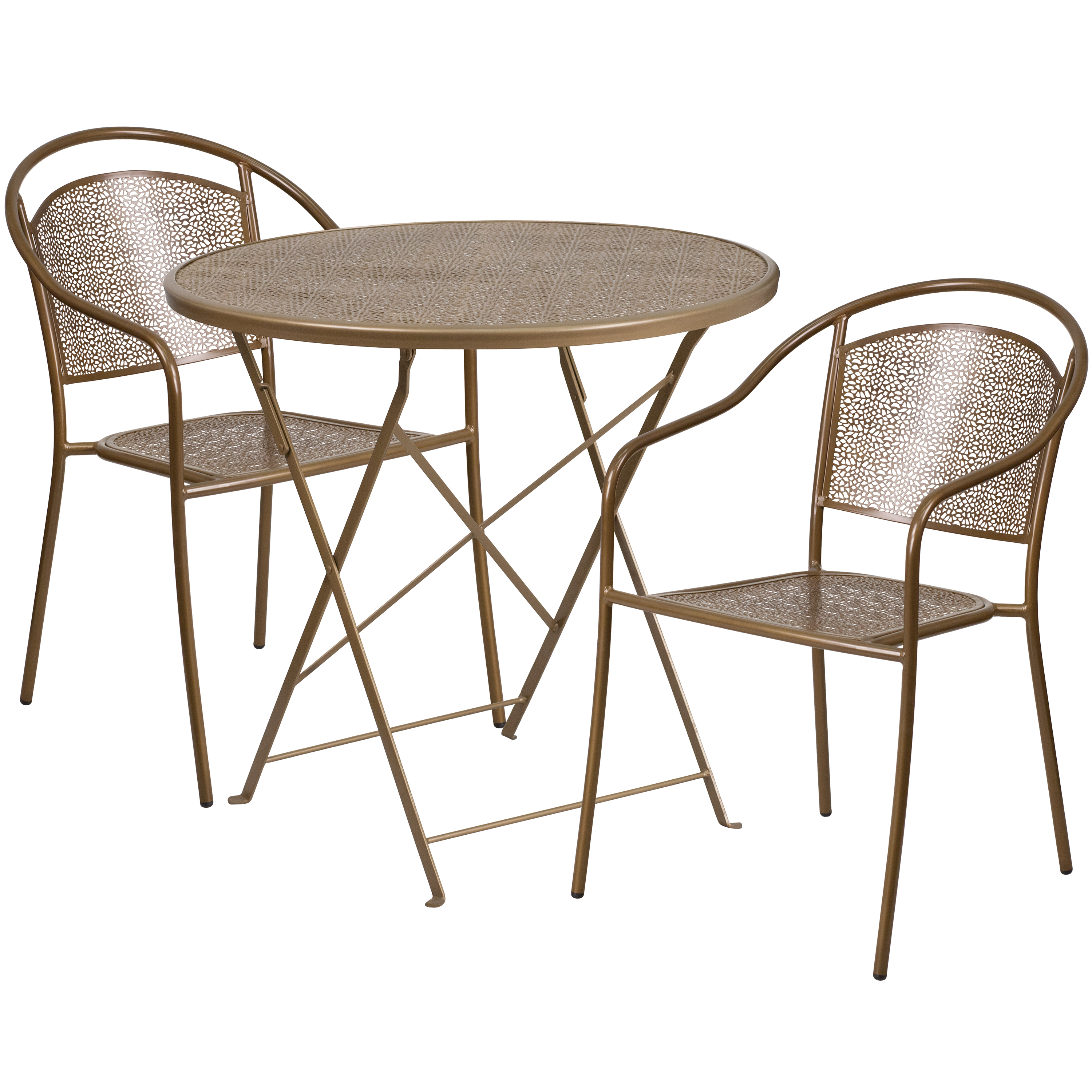 Flash Furniture 30'' Round Indoor-Outdoor Steel Folding Patio Table Set with 2 Round Back Chairs, Multiple Colors