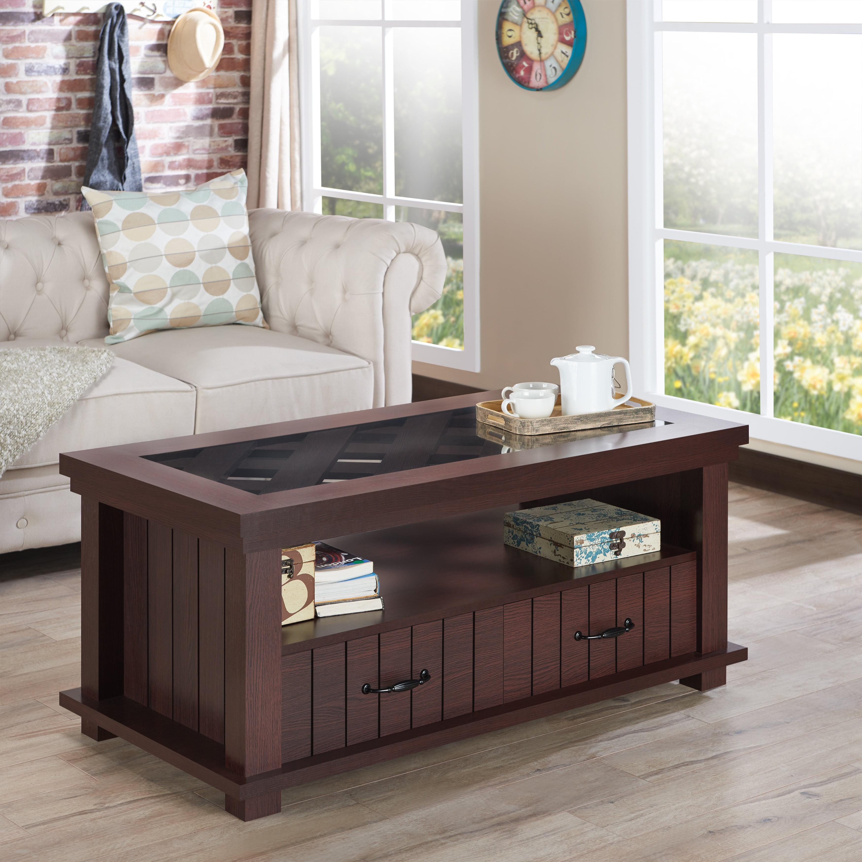 Furniture Of America Cresci Rustic Glass Top 2-drawer
