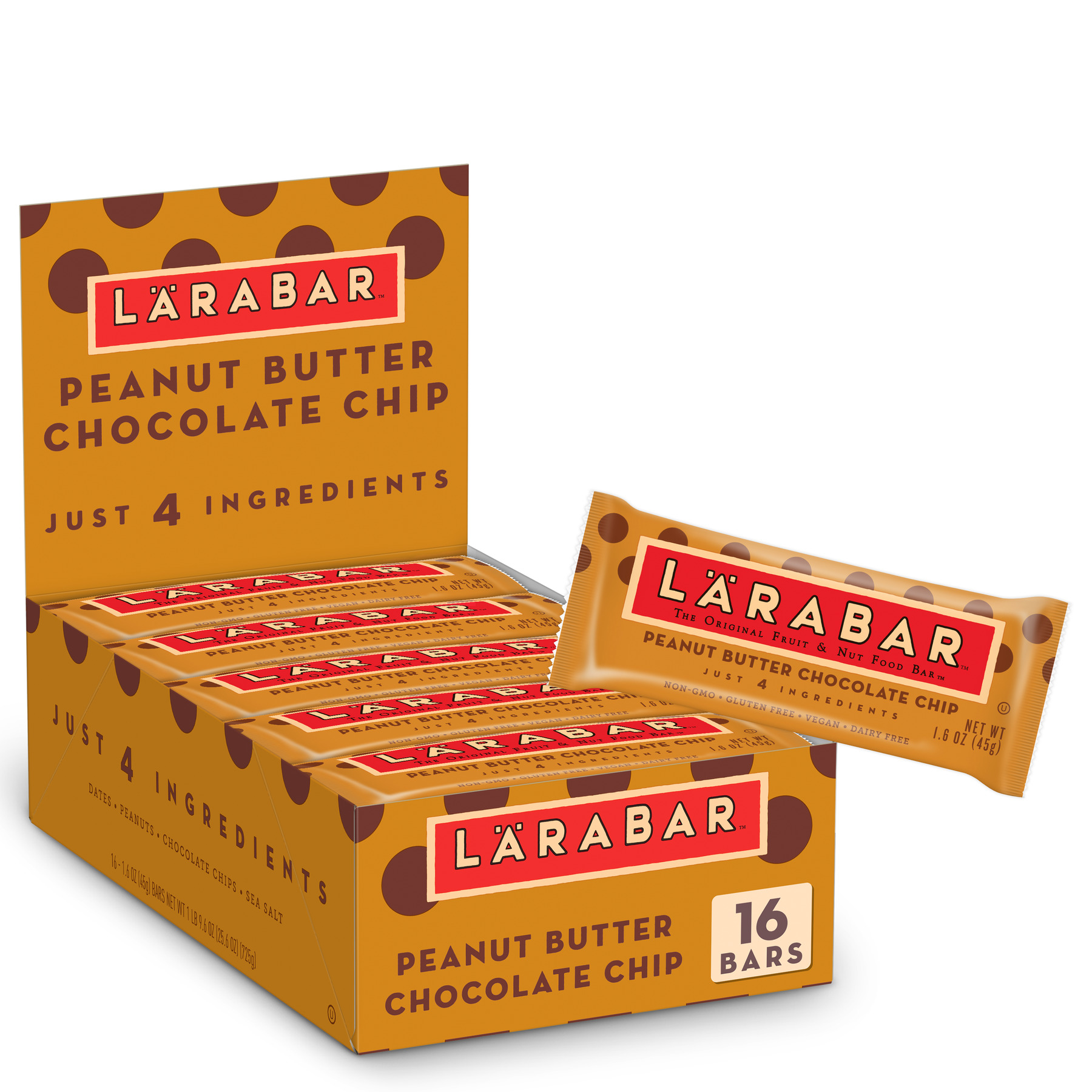Larabar Gluten Free Bar Peanut Butter Chocolate Chip 1.6 oz Bars