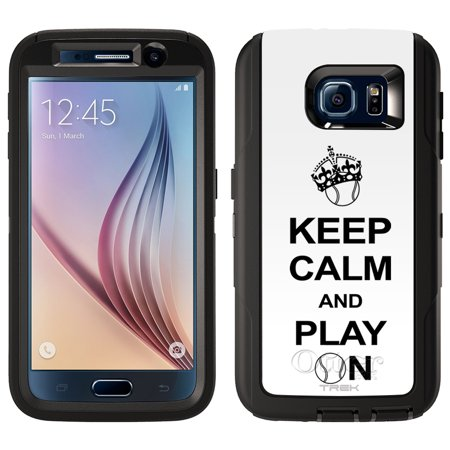 SKIN DECAL FOR Otterbox Defender Samsung Galaxy S6 Case - KEEP CALM And Play On - Tennis on White DECAL, NOT A CASE