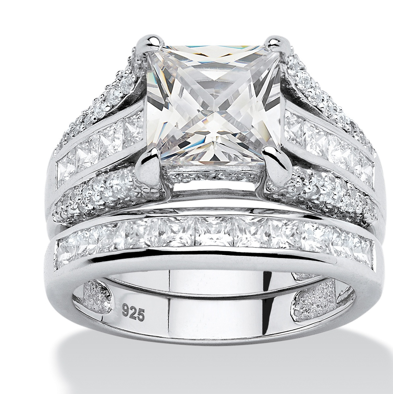 3.14 TCW Princess-Cut Cubic Zirconia 2-Piece Bridal Ring Set in Platinum over Sterling Silver by PalmBeach Jewelry