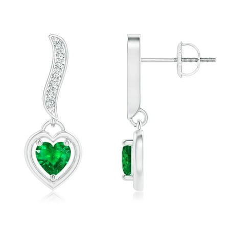 May Birthstone Earrings - Heart-Framed Emerald and Diamond Swirl Drop Earrings in 14K White Gold (4mm Emerald) - SE1381ED-WG-AAA-4