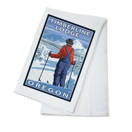 Skier Admiring - Timberline Lodge, Oregon - LP Original Poster (100% Cotton Kitchen Towel)