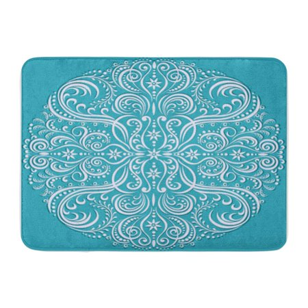 KDAGR Colorful Oriental Swirling Floral Pattern Abstract Fancy Filigree Modern Doormat Floor Rug Bath Mat 23.6x15.7 inch