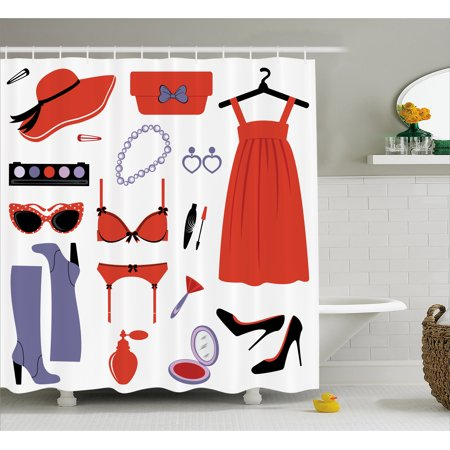Heels And Dresses Shower Curtain Glamor Items For Women Attire