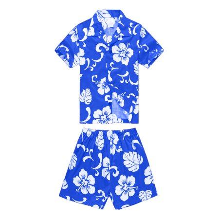 Boy Hawaiian Aloha Luau Shirt and Shorts 2 Piece Cabana Set in Royal Blue Hibiscus 6 Year Old - Cute 2 Year Old Boy