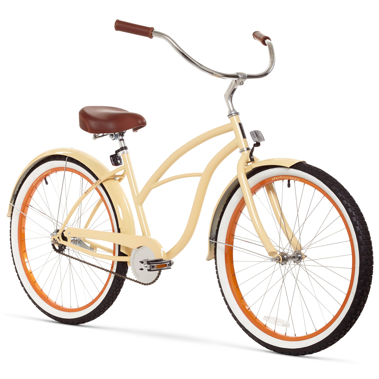"26"" sixthreezero Women's Scholar Single Speed Beach Cruiser Bicycle, Cream"