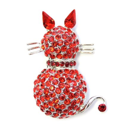 Faship Red Rhinestone Crystal Kitty Cat Pin Brooch