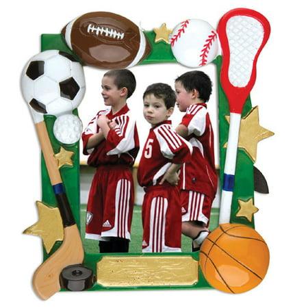 Sport Frame Football Baseball Basketball Hockey Soccer Personalized Christmas Ornament DO-IT-YOURSELF (Football Ornaments Personalized)