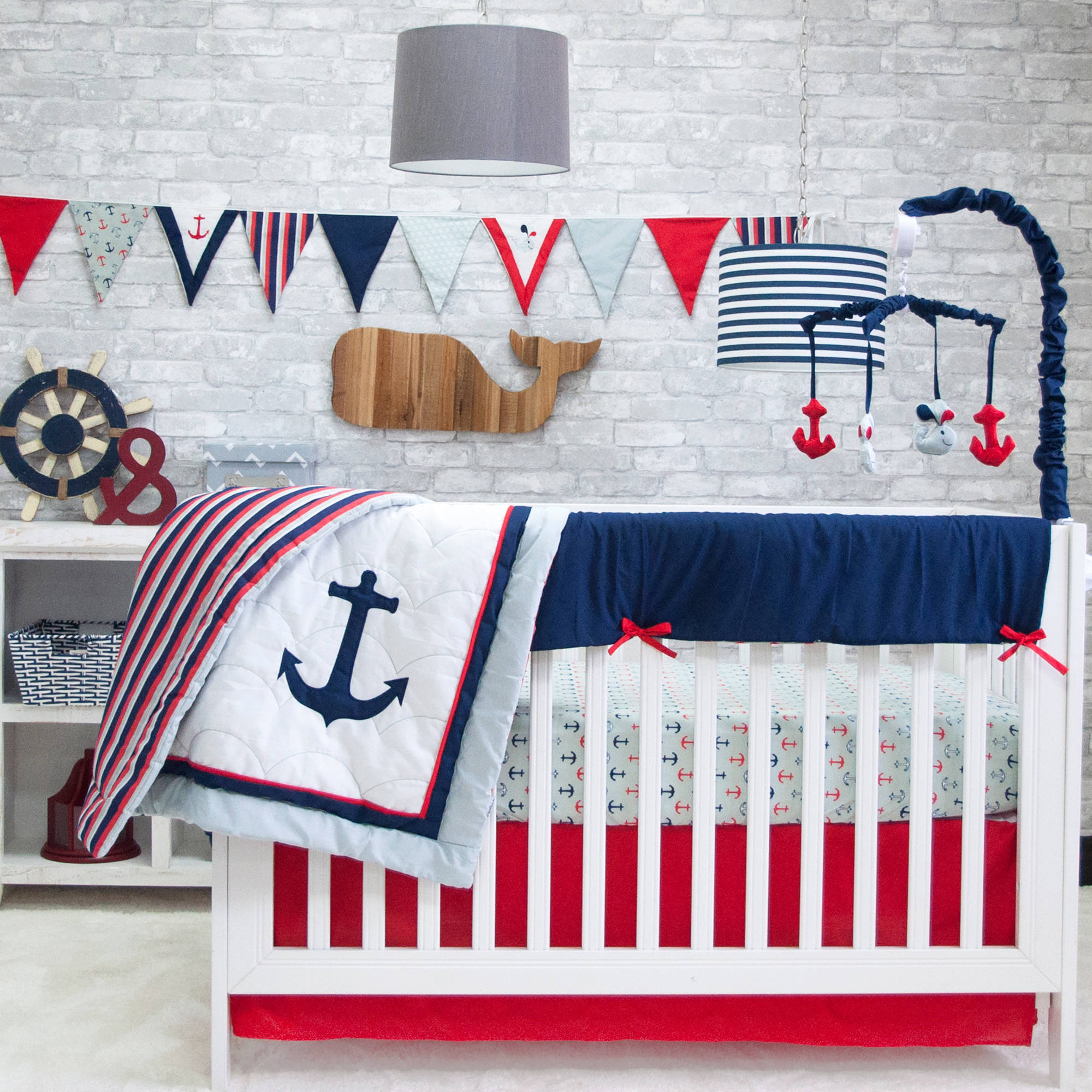 Pam Grace Anchors Away 6 Piece Crib Bedding Set