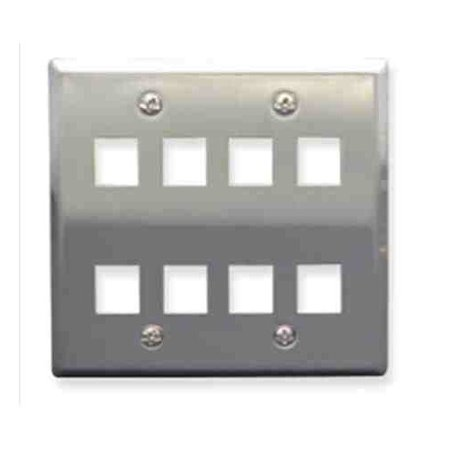 ICC 8-port Double Gang Stainless Steel Faceplate IC107DF8SS