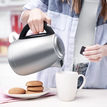 Electric Kettle Stainless Steel Cordless Tea Kettle 1500W Fasting Boiling  with Temperature Control, 1 8 QT Hot Water Kettle with Blue LED Light, Auto