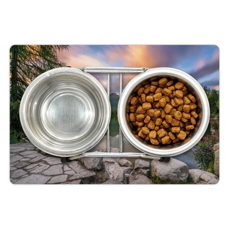 Mountain Pet Mat for Food and Water Idyllic View with Tree on Still L