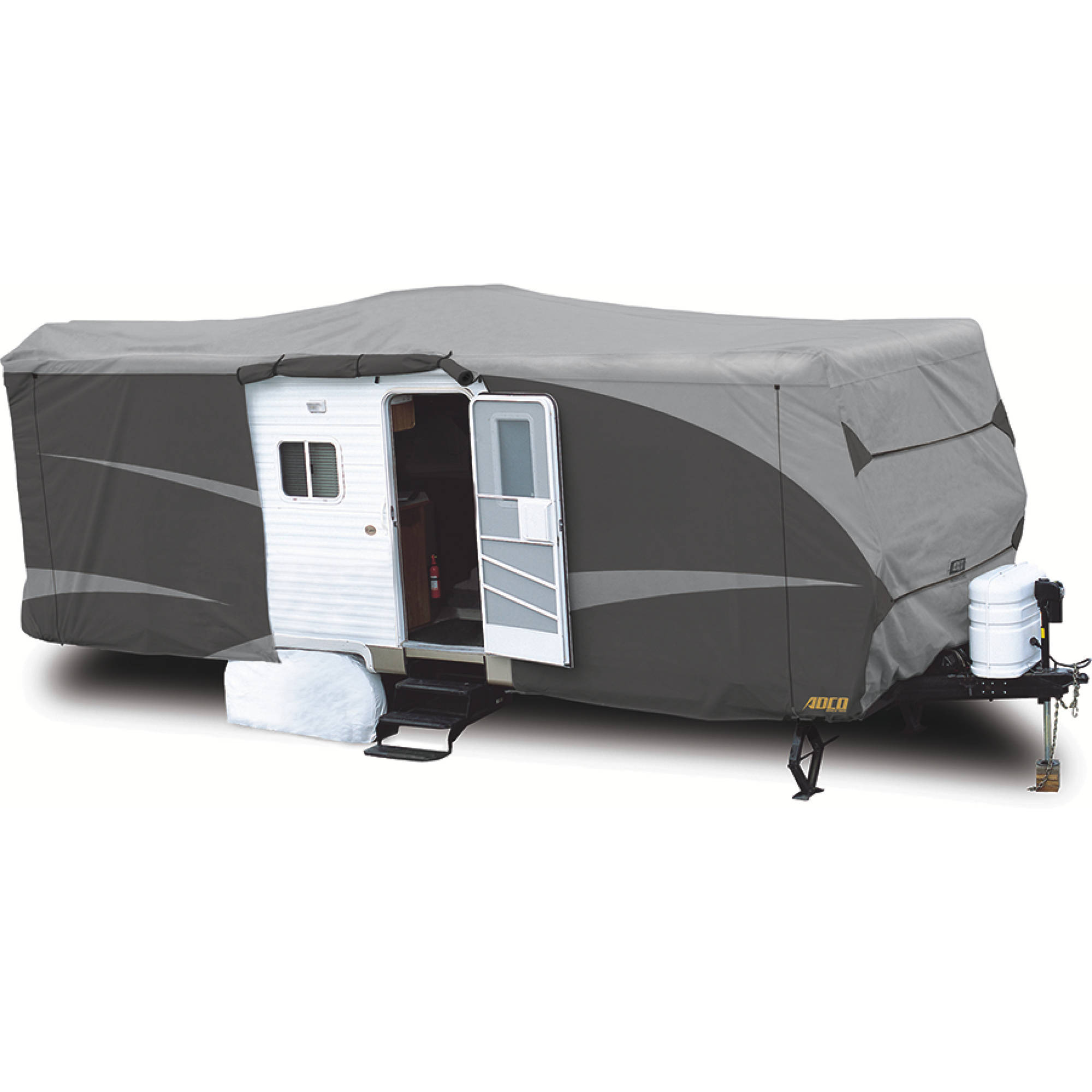 ADCO Travel Trailer Designer Series RV Cover, Gray SFS AquaShed Top/Gray Polypropylene Sides