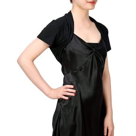 Coat Black Short Sleeve Buttons - HDE Short Sleeve Bolero Jacket Shrug for Women S-4X Open Front Light Layering (Black, Medium)