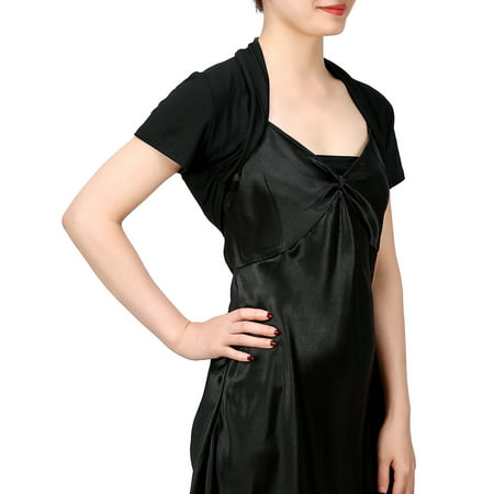 HDE Short Sleeve Bolero Jacket Shrug for Women S-4X Open Front Light Layering (Black,