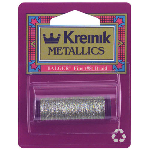 Kreinik Fine Metallic Braid, #8, 11yd, Silver