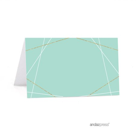 Signature Light Aqua, White, Gold Glittering Party, Printable Table Tent Place Cards, - Party Printables