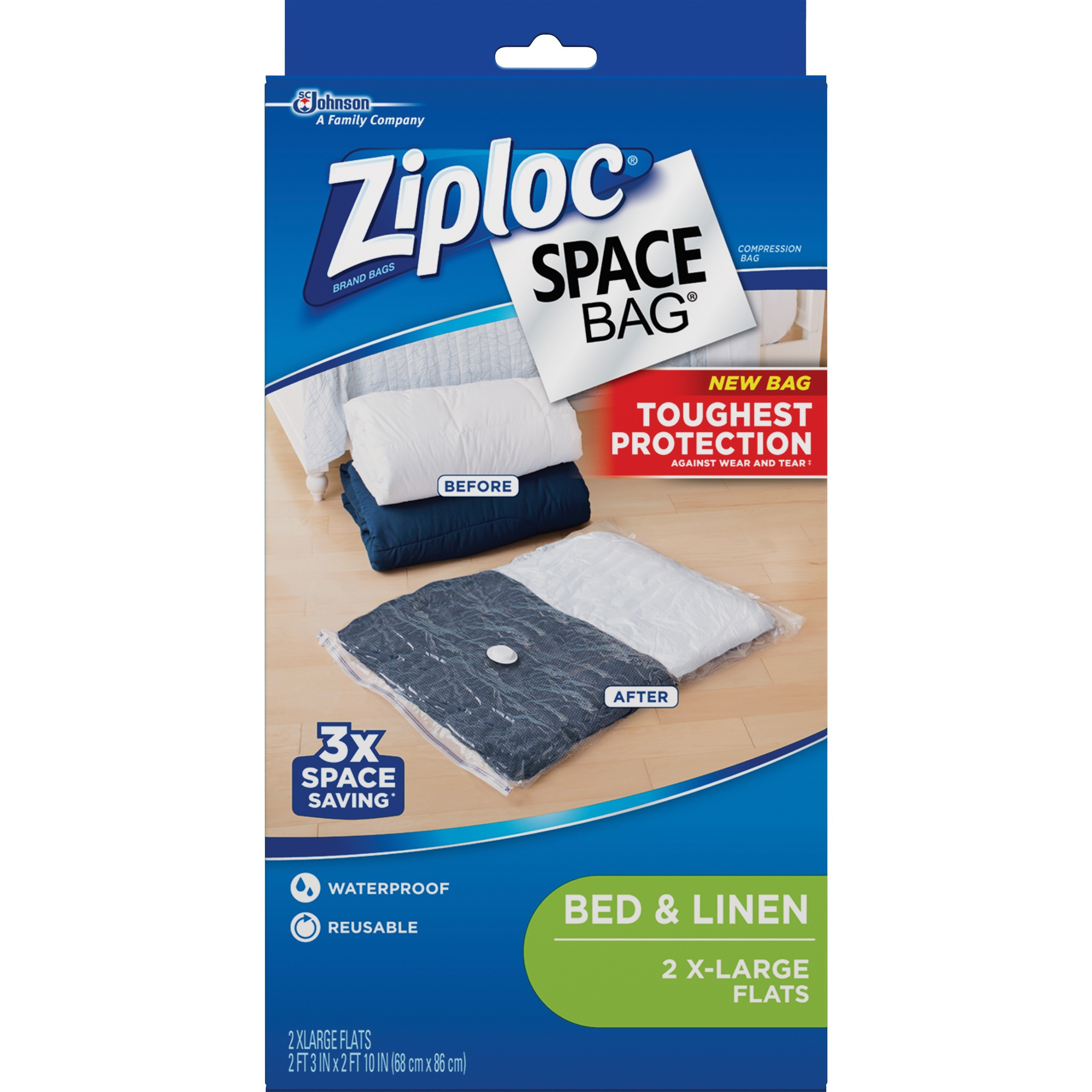 Ziploc Extra Large Space Bag Vacuum Seal Bags, 2-Piece