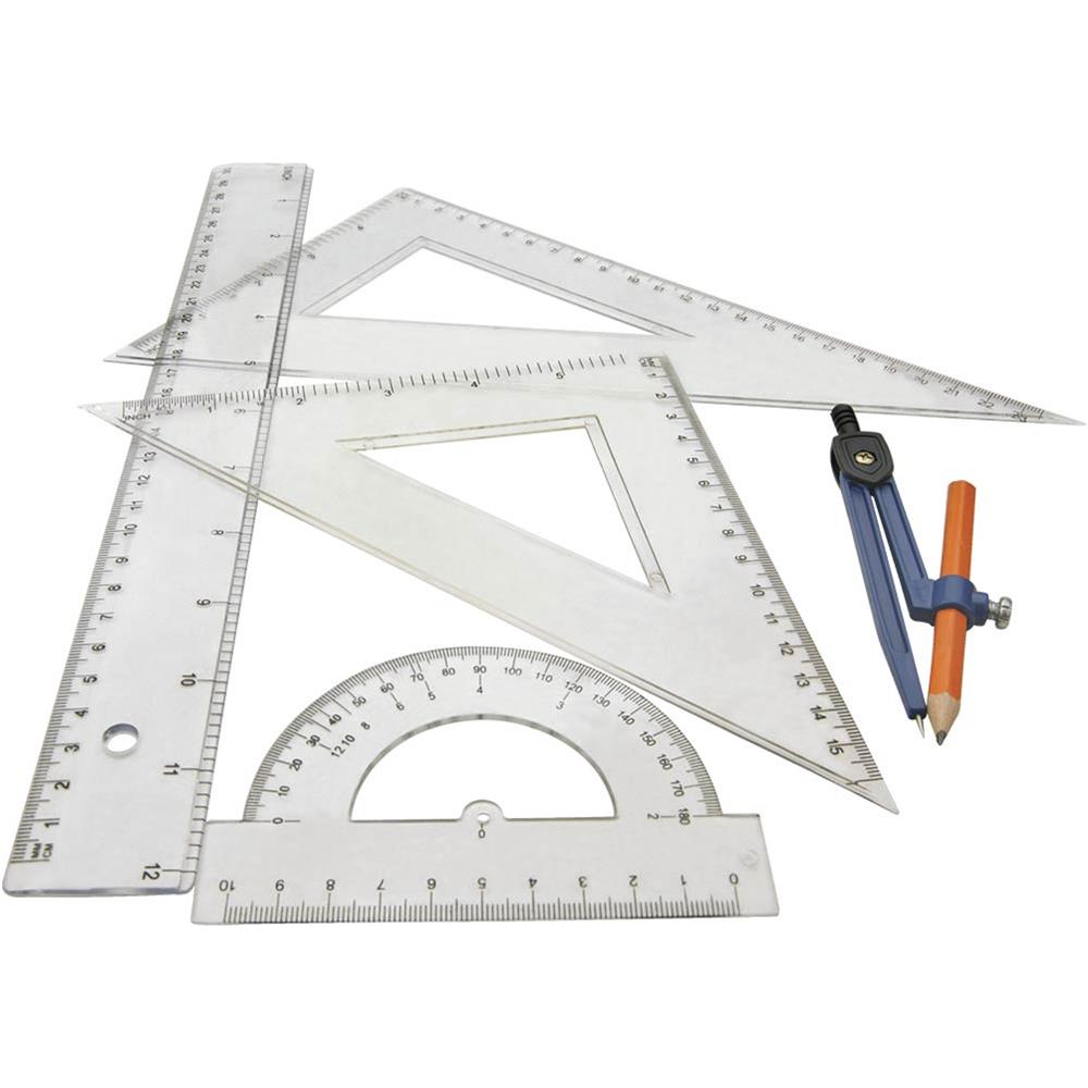 grizzly t21555 5 pc ruler compass and protractor set